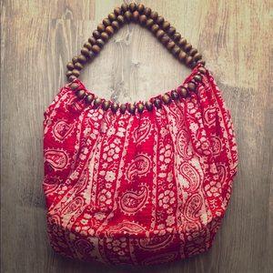 AMC Shoulder Bag, Large Hobo Bag, Beaded Straps
